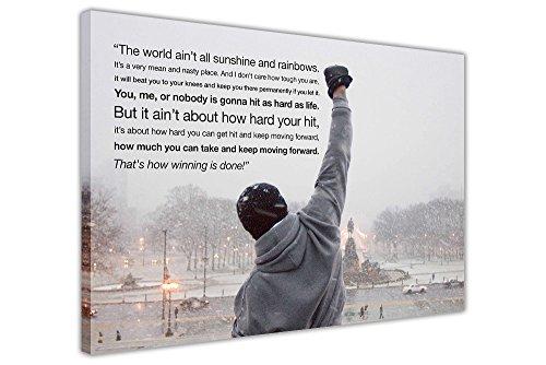 Kunstdruck auf Leinwand, Motiv: Rocky Balboa mit Zitat, Wanddeko Europäisch 9- A0 - 40
