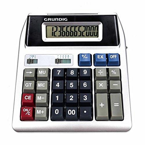 Tischrechner mit Doppeldisplay, kundenfreundlich, kaufm. Sonderfuntionen, 12 stellige Anzeige, inklusive Batterie