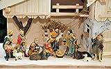PREMIUM 21tlg. Krippenfigurenset K130PB-12cm-MDS ca. 12-13 cm in historischen Farben, Krippenfiguren antikbraun, grün gebeizt mit Echtholz-Deko 21 - teiliges Krippefiguren-SET, große hochwertige Ausführung und feine Mimik, Figuren - Komplettset mit Schäfer, Hirte mit Schaf / Schafe und Ziegen, Ochs und Esel, NEU - handbemalt - für große Holz Weihnachtskrippe + Zubehör