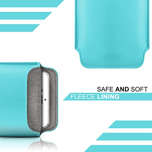iPhone 5C Hülle Türkis Sleeve [OneFlow Slide Cover] Ultra-Slim Schutzhülle Dünn Handyhülle für iPhone 5C Case Full Body Handytasche Kunst-Leder Tasche AQUA-CYAN