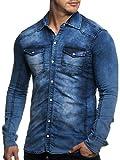 Tazzio Herren Jeans Hemd Denim Jeanshemd Hemden Herrenhemd Langarm Shirt (M, Blau - 14-605)