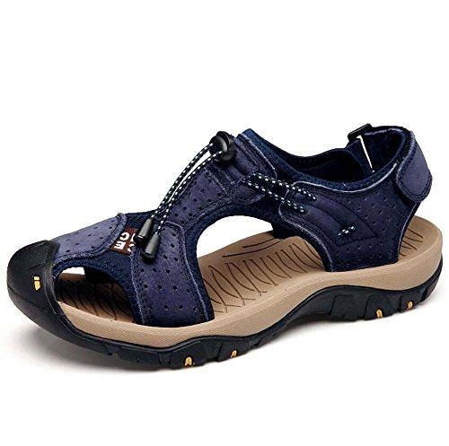 Ydxwan Herren Leder Atmungsaktive Sandalen Sommer Strand Schuhe Lederschuhe Freizeitschuhe Sport Leder Sandalen Rutschfeste Größe 38-46 (Color : Blue, Größe : 39) (Leder Crew Sandalen)