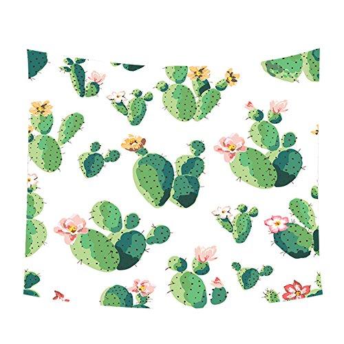 Qinlee Home Decor Wandteppiche Grün Pflanzen Blumenmuster Tapisserie Tischdecke Wandbehang Vorhang Strandtuch Picknick Tuch -Kaktus
