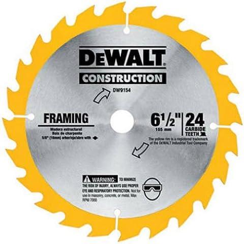 DEWALT DW9154 6-1/2-Inch 24 Tooth ATB Framing Saw Blade with 5/8-Inch Arbor