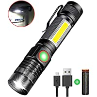 Karrong Strong Magnetic Led Torch USB Rechargeable Super Bright Flashlight 4 Modes, Updated Version Zoom Work Torches with COB Side Light for Night Activity or More