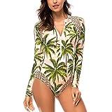 DAYU Damen Rash Guard Bademode Einteiler Sport Badeanzug Langarm UV-Schutz Ausschlag Garde Damen Badeanzug für Tauchen Schwimmen Surfen -M