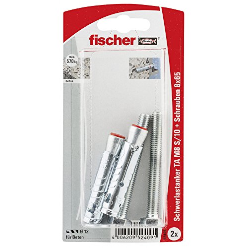 Fischer 052409 S/10 K SB-Karte, Inhalt: 2 x Schwerlastanker TA M8, 2 x 6-kt-Schraube M 8 x 65