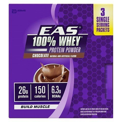 EAS 100% Whey Protein Powder Build Muscle, Chocolate, 3 Packets by EAS