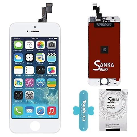 SANKA Ecran LCD Vitre Tactile de Remplacement Retina Display Complet avec Outils de Réparation pour iPhone 5S-Blanc