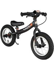 BIKESTAR® Original Premium Sicherheits-Kinderlaufrad für mutige Entdecker ab 3 Jahren ★ 12er Sport Edition ★ Teuflisch Schwarz (matt)