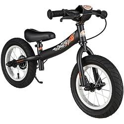 BIKESTAR - Bicicleta de Equilibrio para niños de 3 años de Edad con Lateral y Freno para niños de 12 Pulgadas, edición Deportiva, Color Negro Mate