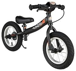 BIKESTAR Laufrad mit Seitenständer und Bremse für Kinder ab 3 Jahren, 30,5 cm, Schwarz (matt)