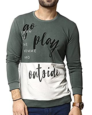Zeyo HEAVY COTTON Olive White printed full sleeve tshirt for mens - stylish round neck t shirt - regular fit tee