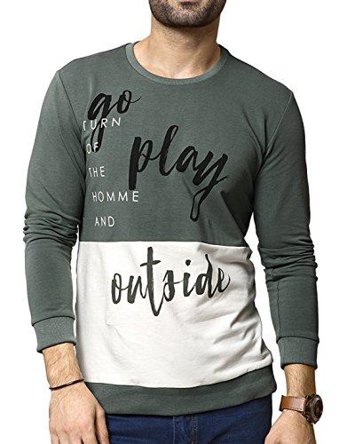 Zeyo Men's Cotton Printed T-Shirt (ZMT-FS-3009-OL-M, Olive and White, Medium-40)