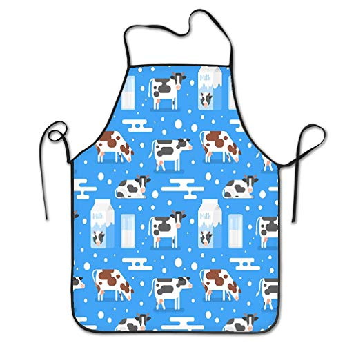 zexuandiy Aprons Bib Unisex Lace Adjustable Polyester 20.4 * 28.3 inch Seamless Pattern Gazing Cow Flat Style Gazing Cow Milk Package Glass Blue Background Fashion Blue Milk Glass