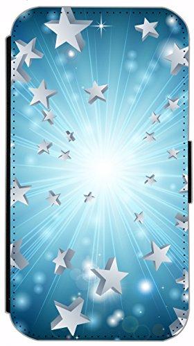 Kuna Flip Cover für Apple iPhone 4 / 4s Design K724 Feuerwerk bunt Hülle aus Kunst-Leder Handy Tasche Etui mit Kreditkartenfächern Schutzhülle Case Wallet Buchflip Rückseite Schwarz Vorderseite Bedruc K721