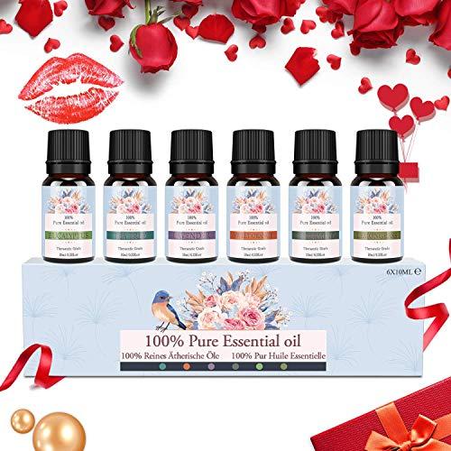 Ätherische Öle Set, Siman Duftöle für Diffuser und Aromatherapie, 100{f0c10c956de6061b908a2f3f35f07dd7e5a688771bd74e9d354c645b2d3ee0be} Reines Bio naturrein Aroma-Öl, 6 Verschiedene Aromen - Lavendel, Teebaum, Eukalyptus, Zitronengras, süße Orange, Pfefferminze