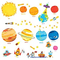 Decowall Planets and Space Kids Wall Stickers Wall Decals Peel and Stick Removable Wall Stickers for Kids Nursery Bedroom Living Room (1707/8017)