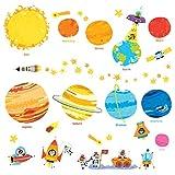 Decowall DW-1707N Planètes Espace Univers Autocollants Muraux Mural Stickers Chambre Enfants Bébé Garderie Salon (Ver anglais)