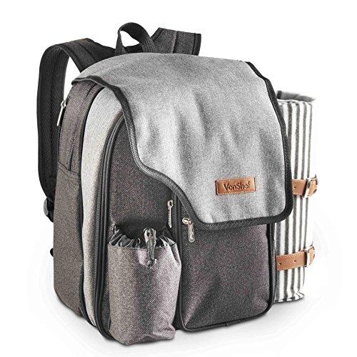 VonShef Deluxe Picknick-Rucksack mit Decke für 2 Personen - hochwertige gewebte graue Oberfläche, mit 17-teiligem Speiseset & Kühlfach um Lebensmittel zu kühlen