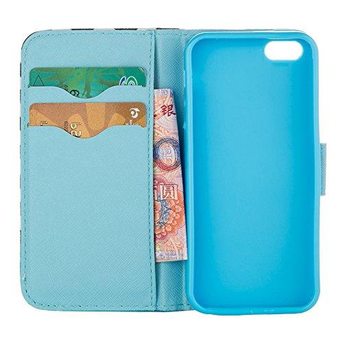 MOONCASE Housse pour iPhone 5 / 5S Cuir Portefeuille Coque en Housse de Protection Étui à rabat Case [Série Motif] /a08 a21