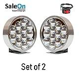 SaleOnTM 12 LED (7 X 7 cm) Round Fog Light for Motorcycle Jeep Car Bike Etc(Set of 2)-691