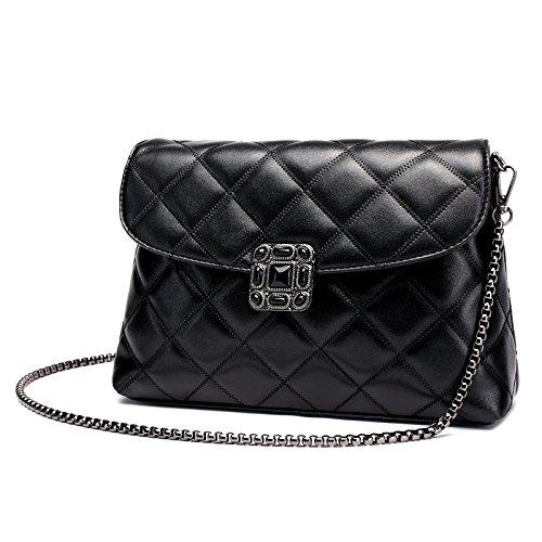 Umhängetasche Women's Handbag PU Leather Tote Shoulder Bags Soft Hot Shoulder Bag Laptoptaschen (Farbe : Schwarz) -
