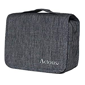 Hanging Toiletry Bag, by Actous | Perfect for Travel | Bathroom and Shower Organizer Kit