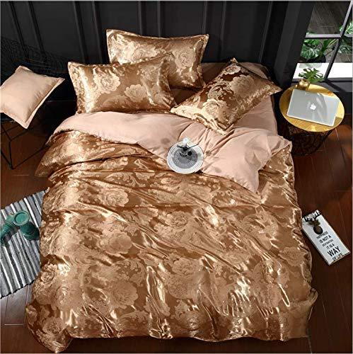 Stil Seide Bettbezug Set Bettwäsche Set Bettbezug Bettlaken Kissenbezüge Super King King Queen Braun 200x230cm