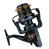 Gimitunus Spinning Angelrolle mit Double Drag Brake System Baitrunner Rolle 14 + 1 Lager Links Rechts auswechselbar Griff für Salzwasser Süßwasserfischen (Größe : 10000)