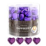 Günthart 150 Stück lila Schokoladen Herzen mit Nougatfüllung | Nougatcreme Kaffeezeit | Schokoladenherzen lila Jakarta |Give away | goldene Herzen aus Schokolade | Kaffeezeit (1,2 kg)