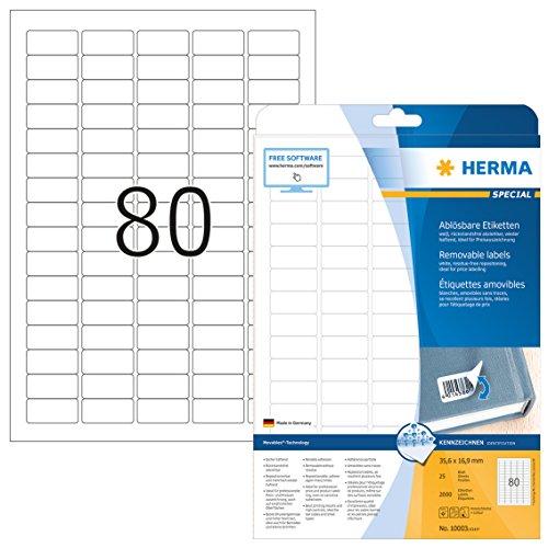 Herma 10003 Preisetiketten ablösbar (35,6 x 16,9 mm, DIN A4 Papier matt) 2.000 Preisschilder auf 25 Blatt, weiß, bedruckbar, selbstklebend