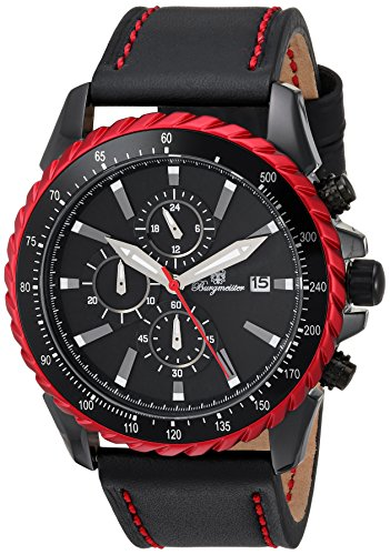 Burgmeister Armbanduhr für Herren mit Analog-Anzeige, Chronograph und Lederarmband - Wasserdichte Herrenarmbanduhr mit zeitlosem, schickem Design - klassische Uhr für Männer - BMT02-642 Cape Coral