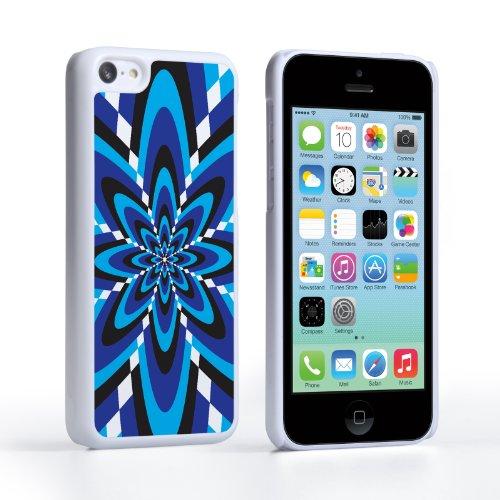 Caseflex Coque iPhone 5C Etui Bleu Rétro Fleur Motif Dur Housse