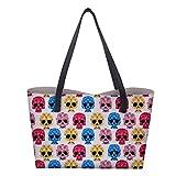Shopper Totenkopf Handtasche Schultertasche PU Leder Einkaufstasche Tragetasche mit Geldbörse für Damen