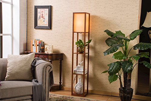 Top QIANGUANG®Indoor lighting 1.6m Wood Floor Lamp with Shelves for Bedroom&Living Room(no bulb) (Brown) … on Line