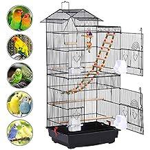 Yaheetech Jaula de Pájaros Jaula de Aves Canarios 46 x 35,5 x 99 cm