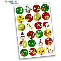 24 adesivi colorati con numeri per il calendario dell'Avvento - DIY sticker - da costruire e riempire - disegno numeri