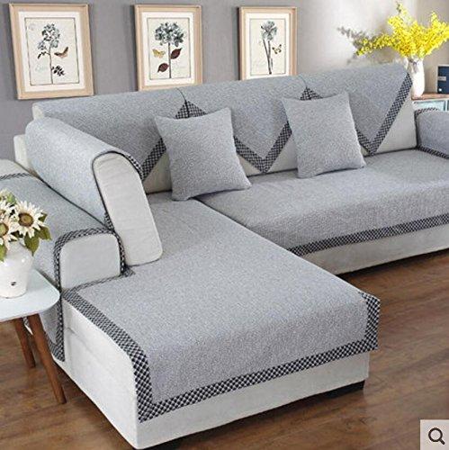 lililili Sofá de Lino Cubierta,con Estilo y Simple,Funda de cojín Multiusos sofá Antideslizante,Protector de Muebles Decorativos de Estilo nórdico seccional-D 110x240cm(43x94inch)