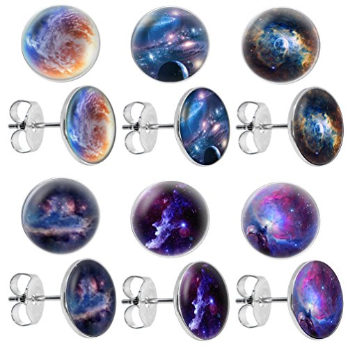 lilments Galaxy Univers Planètes Lot de 6paires de boucles d'oreilles clous en acier inoxydable pour femme Set A