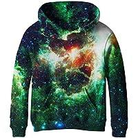 COIKNAVS Teen Girls Boys Galaxy Fleece Sweatshirts Pockets Pullover Hoodies