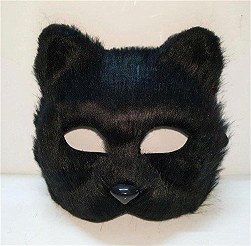 (Unbekannt Jack Mall- Karnevalsmaske halbe Gesicht männliche und weibliche Tiere Katze Halloween-Maske Requisiten Kleiner Fuchs Fuchs Maske (Design : Black Short-haired))