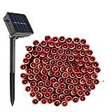 Solar Cadena Luces 200 LED [72ft/22m 8 modos]-DINOWIN Exterior Impermeable Guirnaldas Luminosas Decoración Perfecta para Jardín, Terraza, Fiesta,Boda (Rojo)