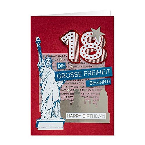 Gruss 90219 handmade Grußkarte, 18 Die Grosse Freiheit Beginnt, Happy Birthday, XL, mehrfarbig