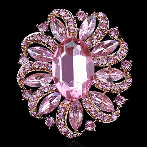 LIzhong Kristall und große ovale Acrylblumenbrosche für Frauen Aller Farben, Pink Gold -
