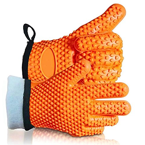 r Cotton Layer] Heat Resistant Silicone Gloves for Barbeque and Cooking Baking Barbeque Grilling Oven Mitts,BBQ Insulated Gloves BPA free by Sanskriti Premium Products