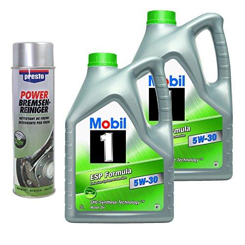 Preisvergleich Produktbild 2x5L= 10 Liter Mobil 1 ESP Formula 5W-30 Motor-Öl Motoren-Öl inkl. 1x 500ml Presto Power Bremsenreiniger; Freigaben: ACEA C2,C3; API SM/SN; JASO DL-1; AAE (STO 003) Group B6; BMW Longlife 04; MB-Fre