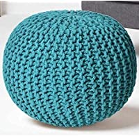 Home Stuff Round Pouf Puffy for Living Room Sitting Ottoman Bean Filled Stool for Foot Rest (Large (16 x 18 in…