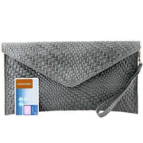 modamoda de - ital. Ledertasche Clutch Unterarmtasche Abendtasche Damentasche Handgelenktasche Flechtmuster T106F Dunkelgrau