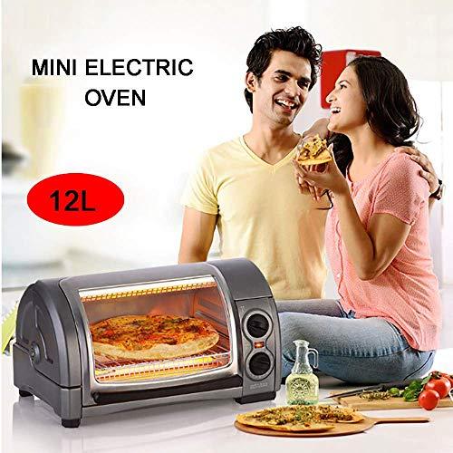 Elektrischer Mini-Backofen, Multifunktions-Mini-Backofen-Pizzamaschine Mini-Kuchenmaschine 220 V, Zeit einstellbar, Oberdeckel 12-Liter-Design mit gewölbter Oberfläche, Geeignet für Familien, Bü